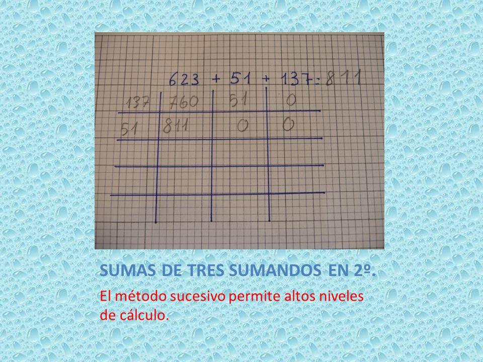 SUMAS DE TRES SUMANDOS EN 2º. El método sucesivo permite altos niveles de cálculo.