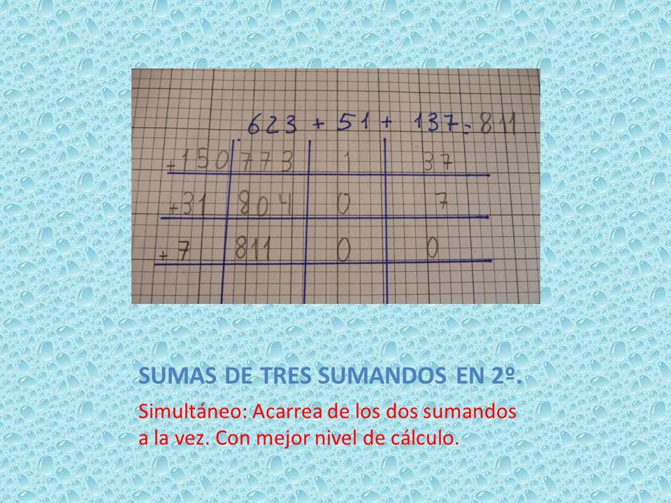 SUMAS DE TRES SUMANDOS EN 2º. Simultáneo: Acarrea de los dos sumandos a la vez. Con mejor nivel de cálculo.