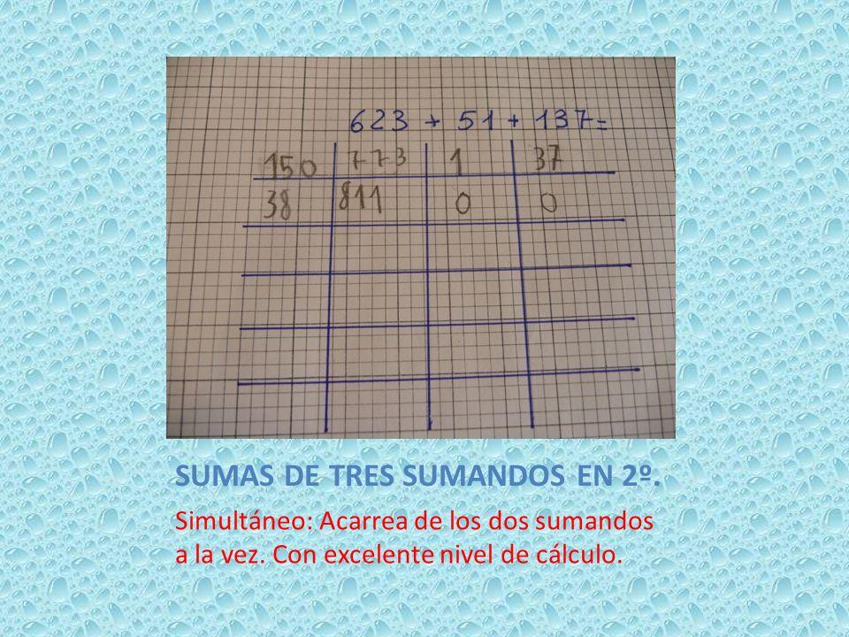 SUMAS DE TRES SUMANDOS EN 2º. Simultáneo: Acarrea de los dos sumandos a la vez. Con excelente nivel de cálculo.