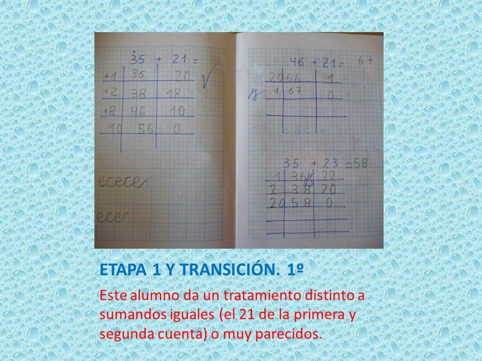 ETAPA 1 Y TRANSICIÓN. 1º Este alumno da un tratamiento distinto a sumandos iguales (el 21 de la primera y segunda cuenta) o muy parecidos.