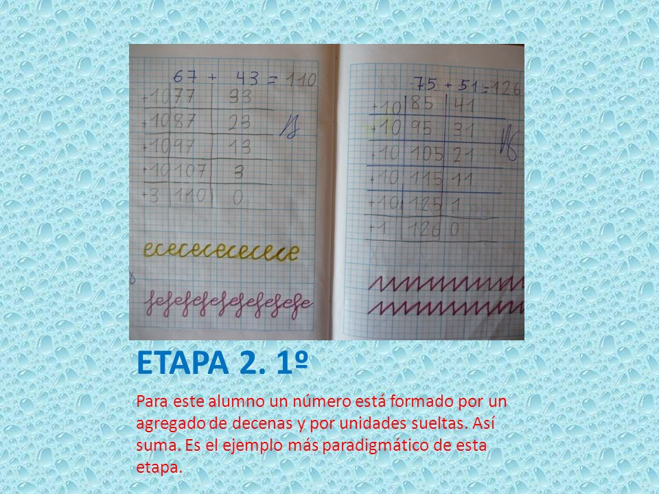 ETAPA 2. 1º Para este alumno un número está formado por un agregado de decenas y por unidades sueltas. Así suma. Es el ejemplo más paradigmático de es