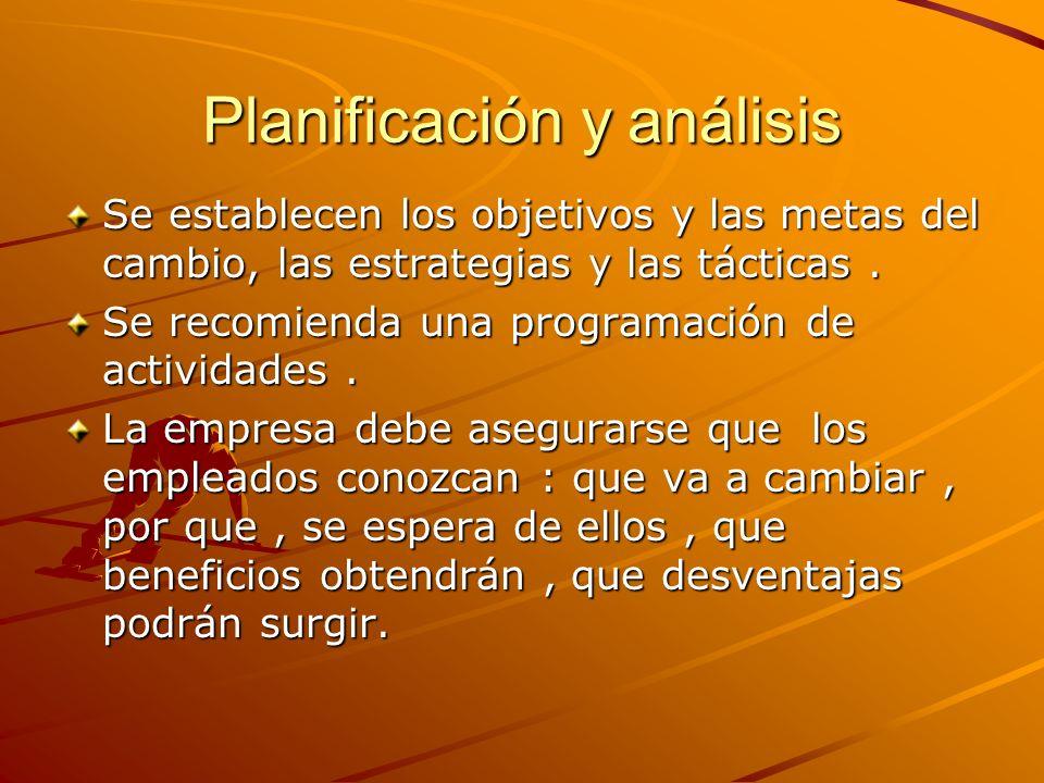 Planificación y análisis Se establecen los objetivos y las metas del cambio, las estrategias y las tácticas. Se recomienda una programación de activid