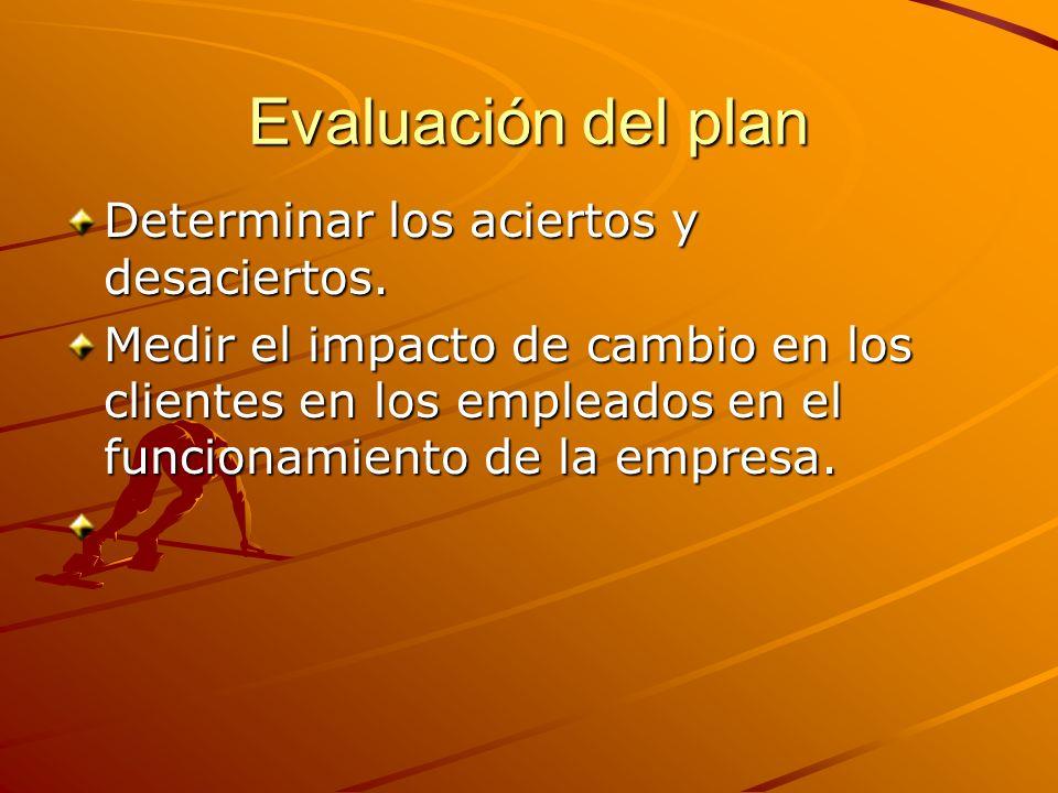 Evaluación del plan Determinar los aciertos y desaciertos. Medir el impacto de cambio en los clientes en los empleados en el funcionamiento de la empr