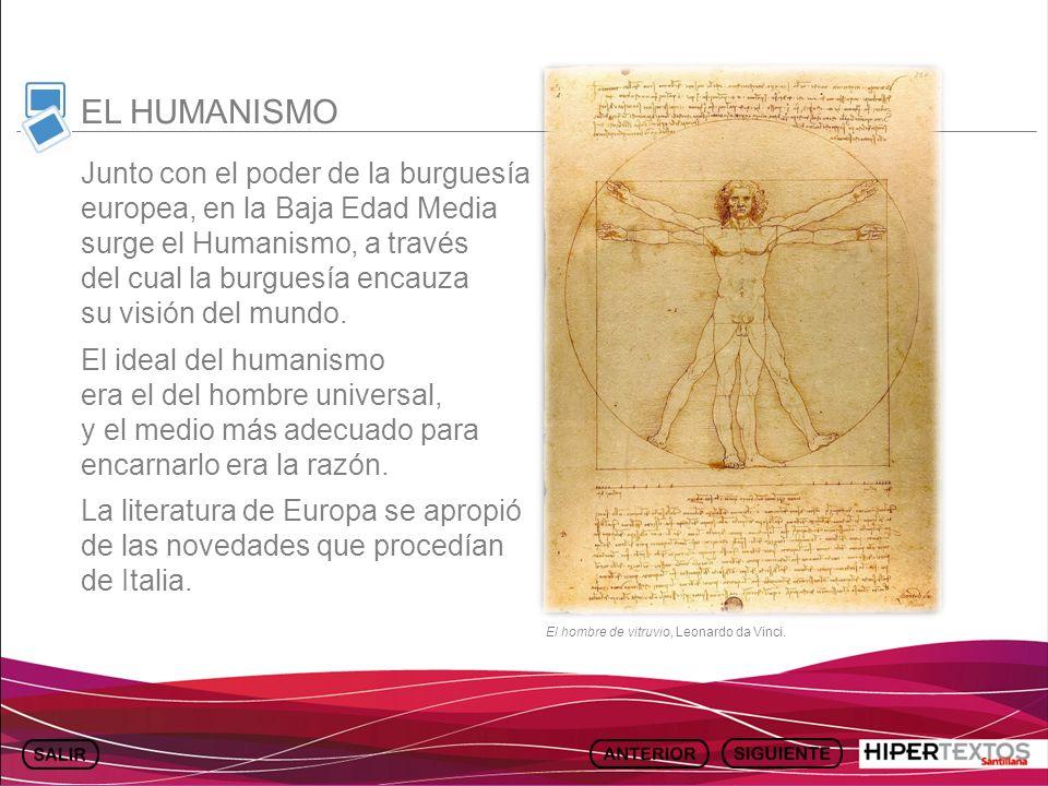GEOGRAFÍA E HISTORIA 1. TEMA 13 Junto con el poder de la burguesía europea, en la Baja Edad Media surge el Humanismo, a través del cual la burguesía e