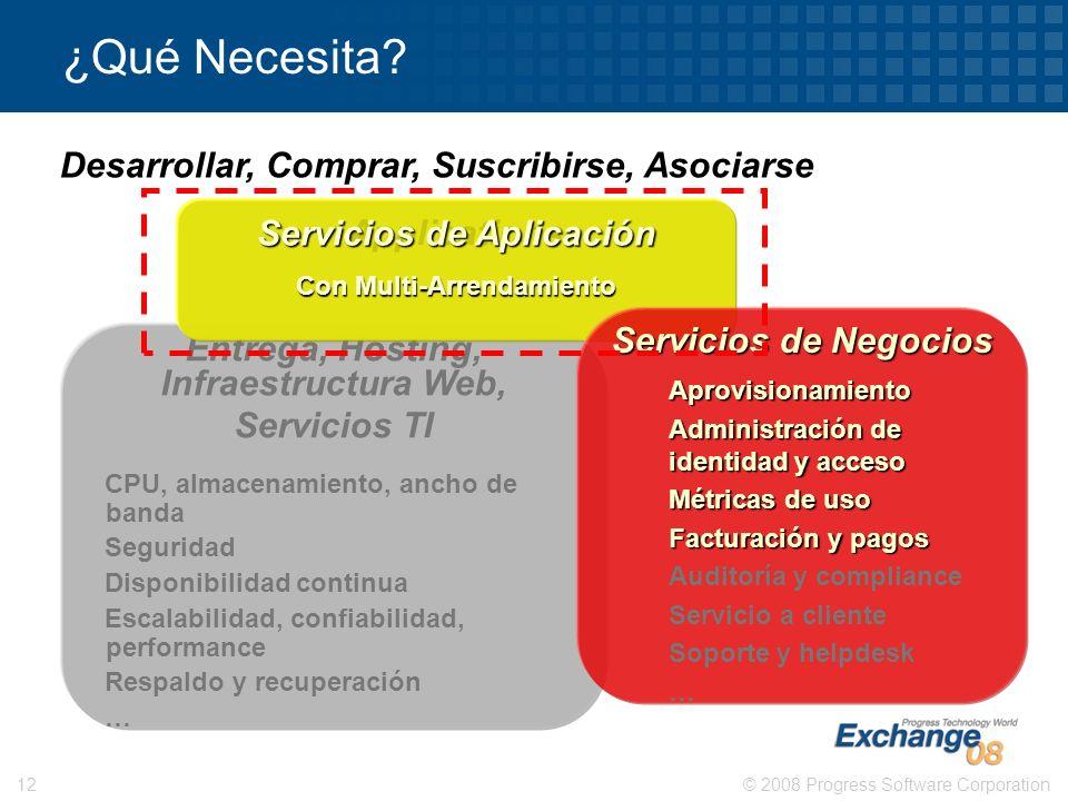 © 2008 Progress Software Corporation12 Entrega, Hosting, Infraestructura Web, Servicios TI CPU, almacenamiento, ancho de banda Seguridad Disponibilida