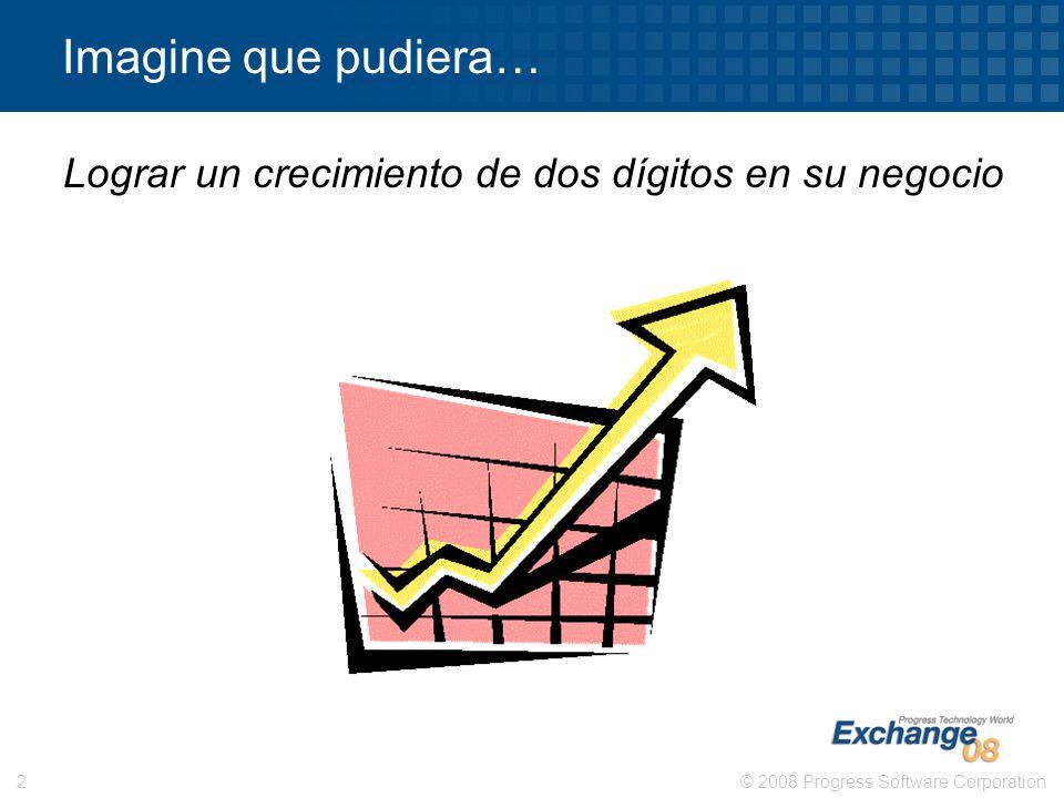 © 2008 Progress Software Corporation2 Imagine que pudiera… Lograr un crecimiento de dos dígitos en su negocio