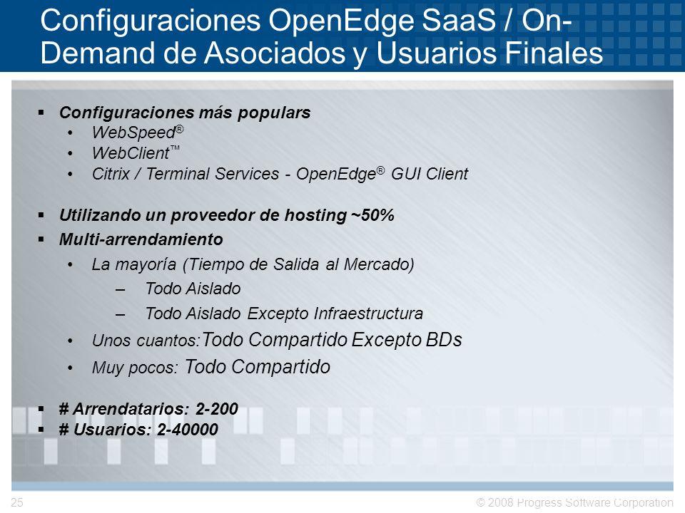 © 2008 Progress Software Corporation25 Configuraciones OpenEdge SaaS / On- Demand de Asociados y Usuarios Finales Configuraciones más populars WebSpee