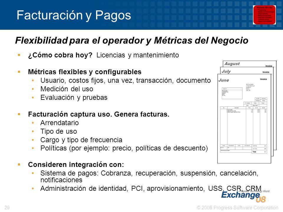 © 2008 Progress Software Corporation29 Facturación y Pagos ¿Cómo cobra hoy? Licencias y mantenimiento Métricas flexibles y configurables Usuario, cost