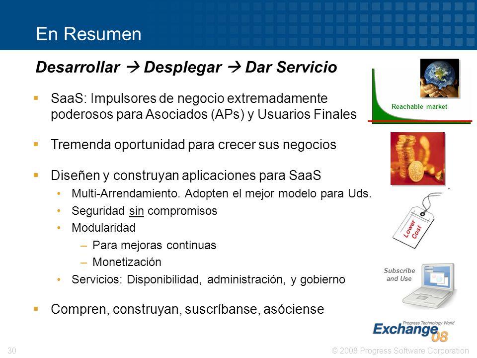 © 2008 Progress Software Corporation30 Reachable market En Resumen SaaS: Impulsores de negocio extremadamente poderosos para Asociados (APs) y Usuario