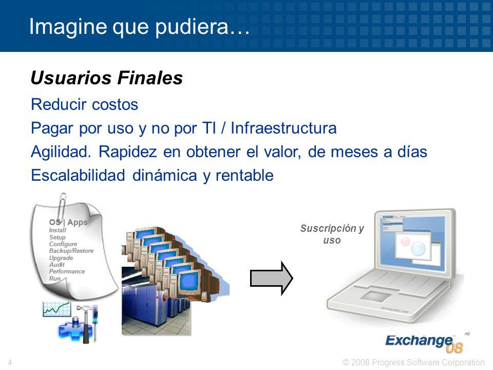 © 2008 Progress Software Corporation4 Imagine que pudiera… Reducir costos Pagar por uso y no por TI / Infraestructura Agilidad. Rapidez en obtener el