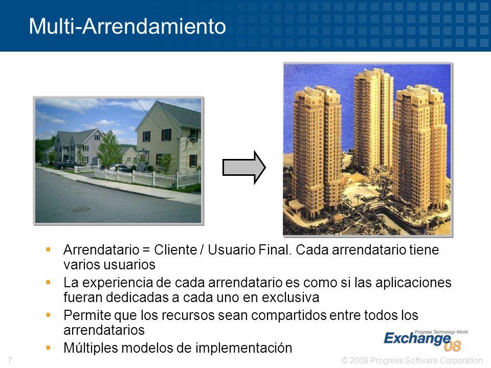 © 2008 Progress Software Corporation7 Multi-Arrendamiento Arrendatario = Cliente / Usuario Final. Cada arrendatario tiene varios usuarios La experienc