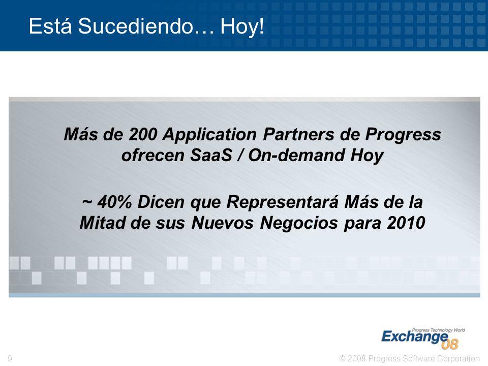 © 2008 Progress Software Corporation9 Está Sucediendo… Hoy! Más de 200 Application Partners de Progress ofrecen SaaS / On-demand Hoy ~ 40% Dicen que R