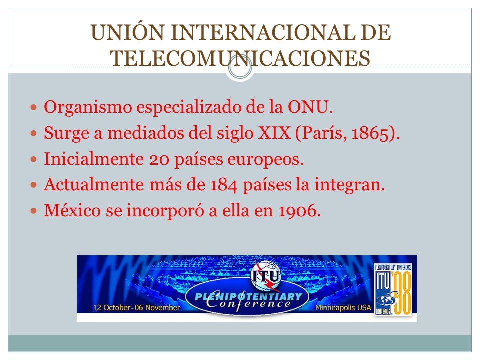 UNIÓN INTERNACIONAL DE TELECOMUNICACIONES Organismo especializado de la ONU. Surge a mediados del siglo XIX (París, 1865). Inicialmente 20 países euro