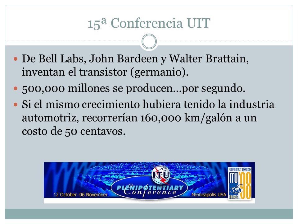 15ª Conferencia UIT De Bell Labs, John Bardeen y Walter Brattain, inventan el transistor (germanio). 500,000 millones se producen…por segundo. Si el m