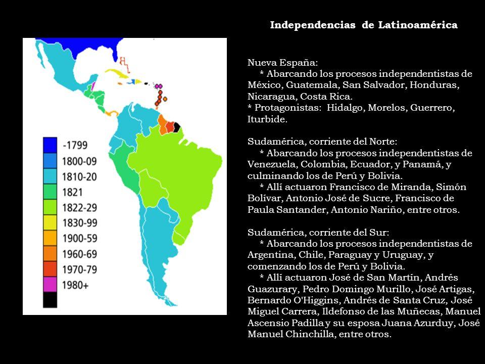 Independencias de Latinoamérica Nueva España: * Abarcando los procesos independentistas de México, Guatemala, San Salvador, Honduras, Nicaragua, Costa