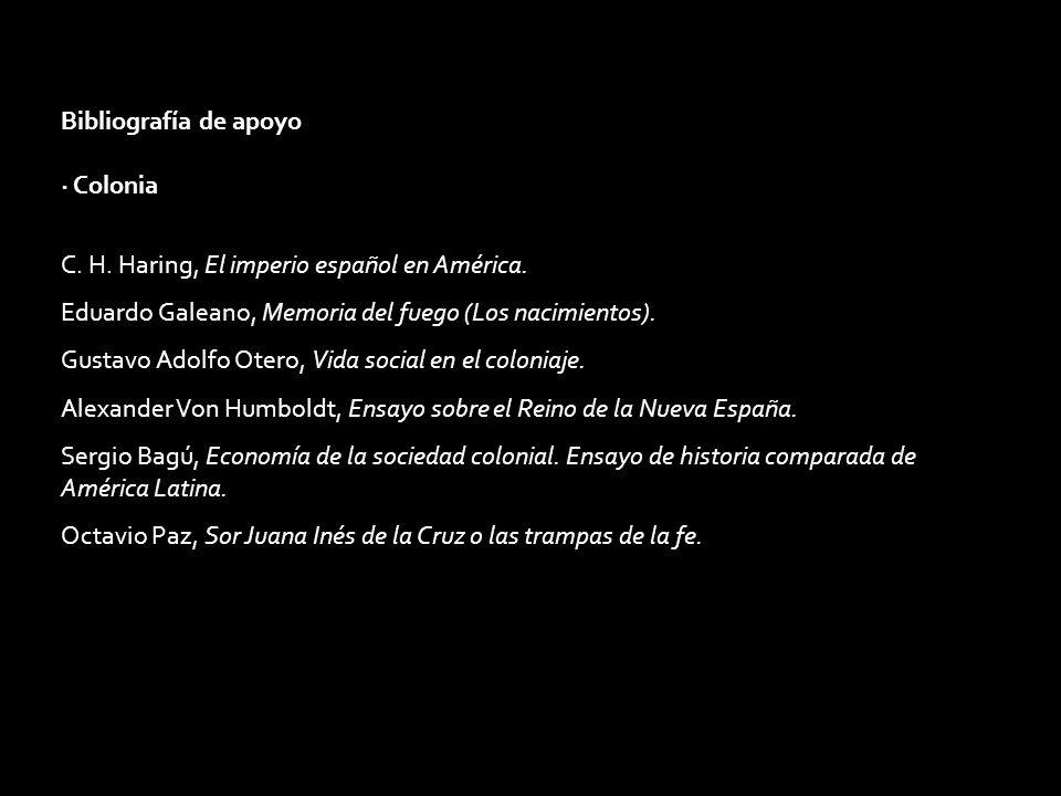 Bibliografía de apoyo · Colonia C. H. Haring, El imperio español en América. Eduardo Galeano, Memoria del fuego (Los nacimientos). Gustavo Adolfo Oter