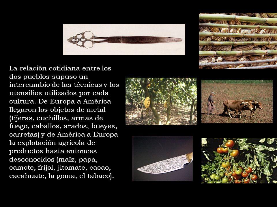 La relación cotidiana entre los dos pueblos supuso un intercambio de las técnicas y los utensilios utilizados por cada cultura. De Europa a América ll