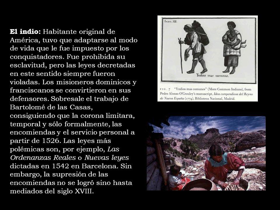 El indio: Habitante original de América, tuvo que adaptarse al modo de vida que le fue impuesto por los conquistadores. Fue prohibida su esclavitud, p