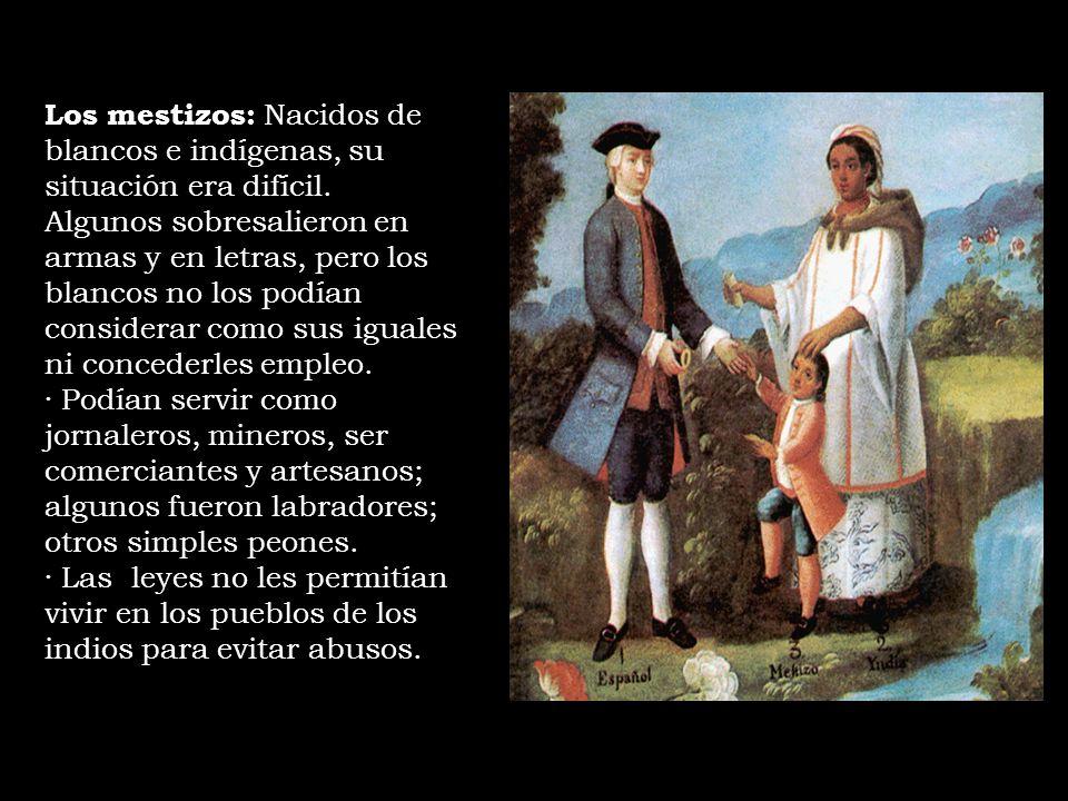 Los mestizos: Nacidos de blancos e indígenas, su situación era difícil. Algunos sobresalieron en armas y en letras, pero los blancos no los podían con