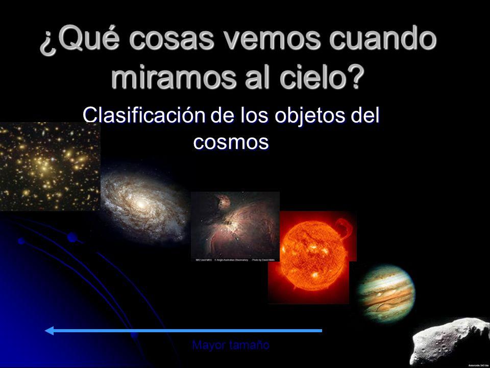 ¿Qué cosas vemos cuando miramos al cielo? Clasificación de los objetos del cosmos Mayor tamaño