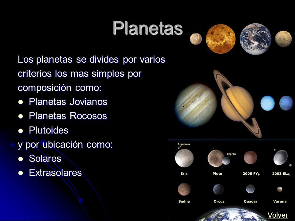 Planetas Los planetas se divides por varios criterios los mas simples por composición como: Planetas Jovianos Planetas Jovianos Planetas Rocosos Plane