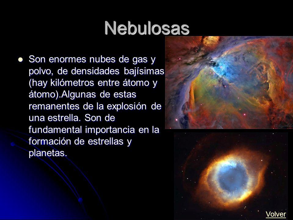 Nebulosas Son enormes nubes de gas y polvo, de densidades bajísimas (hay kilómetros entre átomo y átomo).Algunas de estas remanentes de la explosión d