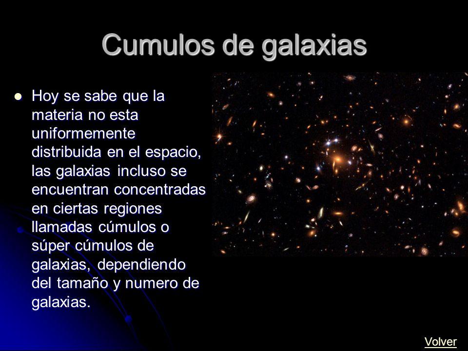 Cumulos de galaxias Hoy se sabe que la materia no esta uniformemente distribuida en el espacio, las galaxias incluso se encuentran concentradas en cie
