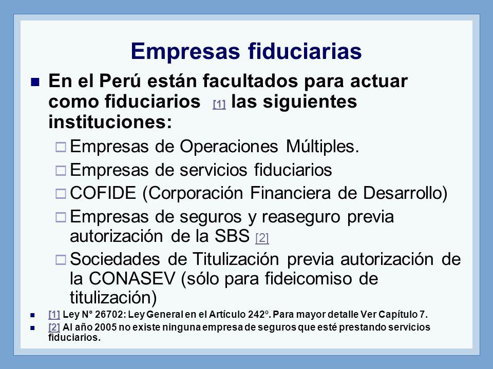 Empresas fiduciarias En el Perú están facultados para actuar como fiduciarios [1] las siguientes instituciones: [1] Empresas de Operaciones Múltiples.