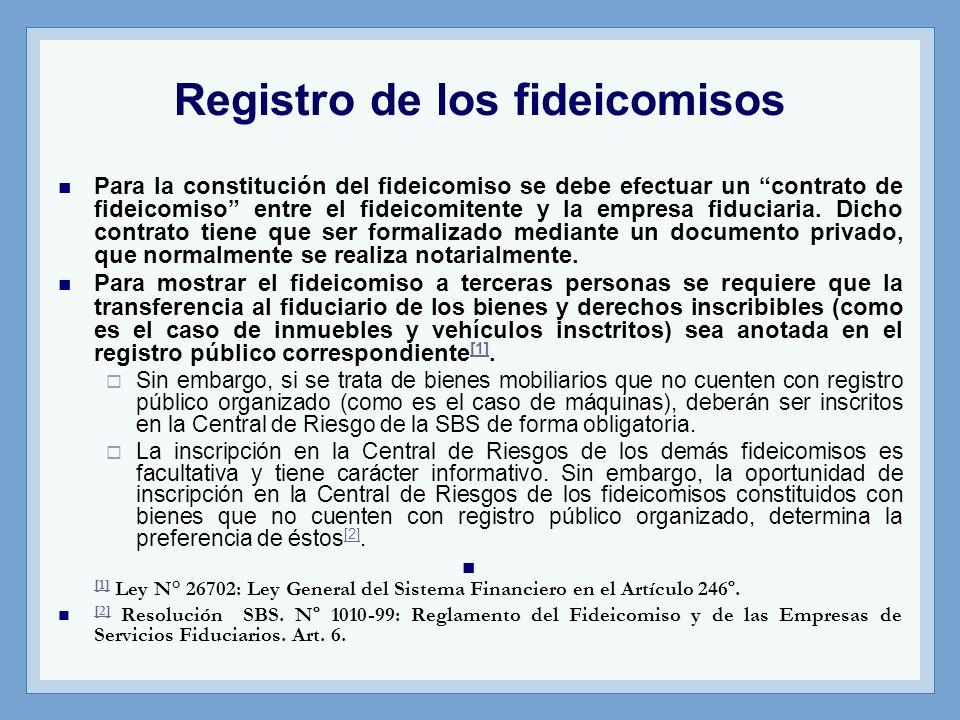 Registro de los fideicomisos Para la constitución del fideicomiso se debe efectuar un contrato de fideicomiso entre el fideicomitente y la empresa fid