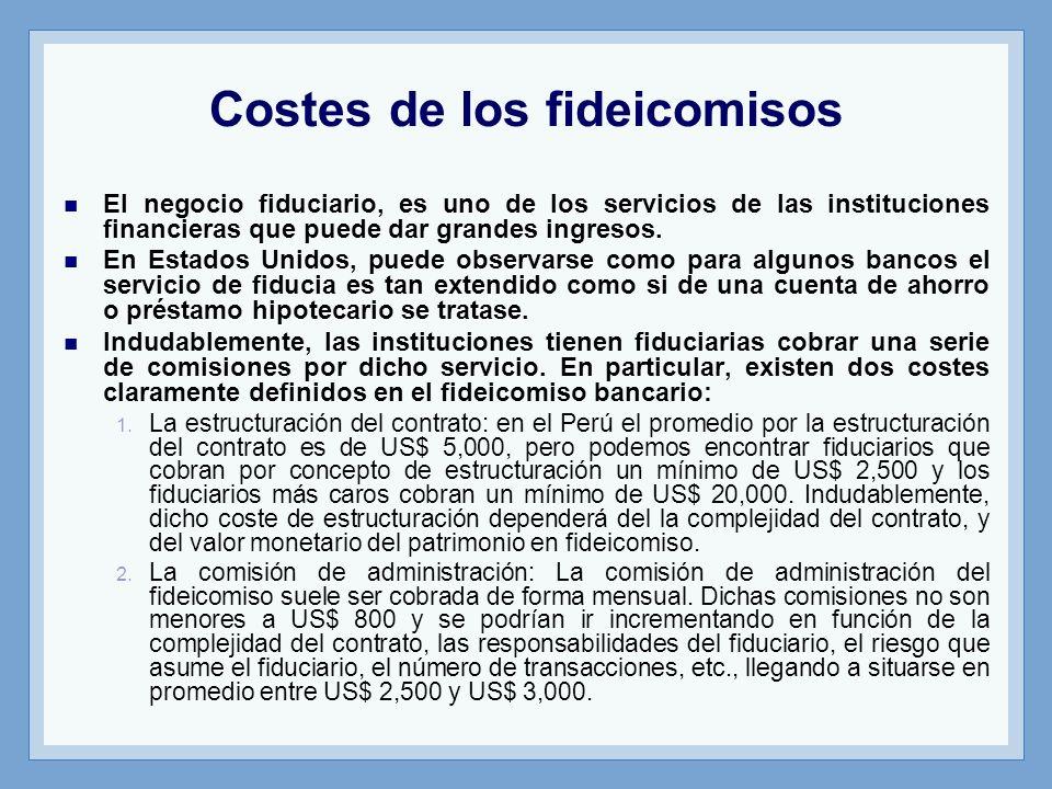 Costes de los fideicomisos El negocio fiduciario, es uno de los servicios de las instituciones financieras que puede dar grandes ingresos. En Estados