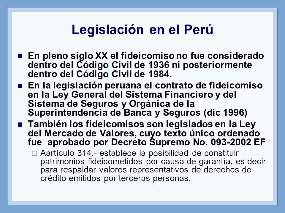 Legislación en el Perú En pleno siglo XX el fideicomiso no fue considerado dentro del Código Civil de 1936 ni posteriormente dentro del Código Civil d