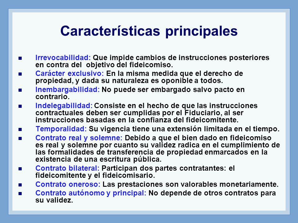 Características principales Irrevocabilidad: Que impide cambios de instrucciones posteriores en contra del objetivo del fideicomiso. Carácter exclusiv