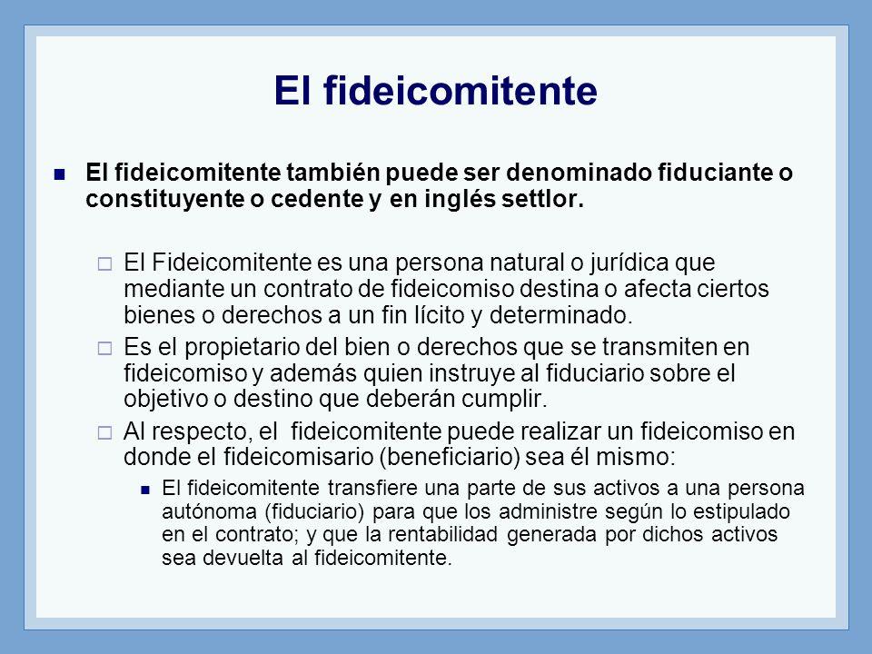 El fideicomitente El fideicomitente también puede ser denominado fiduciante o constituyente o cedente y en inglés settlor. El Fideicomitente es una pe