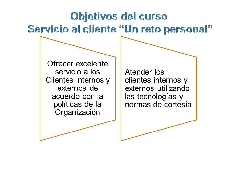 Ofrecer excelente servicio a los Clientes internos y externos de acuerdo con la políticas de la Organización Atender los clientes internos y externos