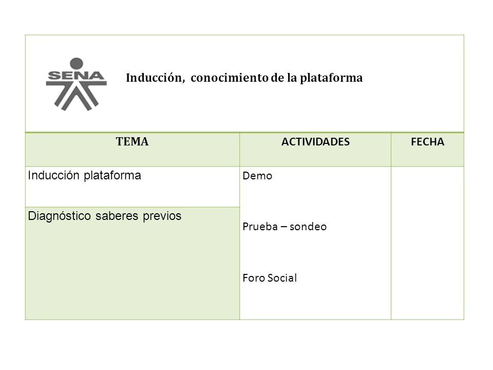 Inducción, conocimiento de la plataforma TEMA ACTIVIDADESFECHA Inducción plataforma Demo Prueba – sondeo Foro Social Diagnóstico saberes previos