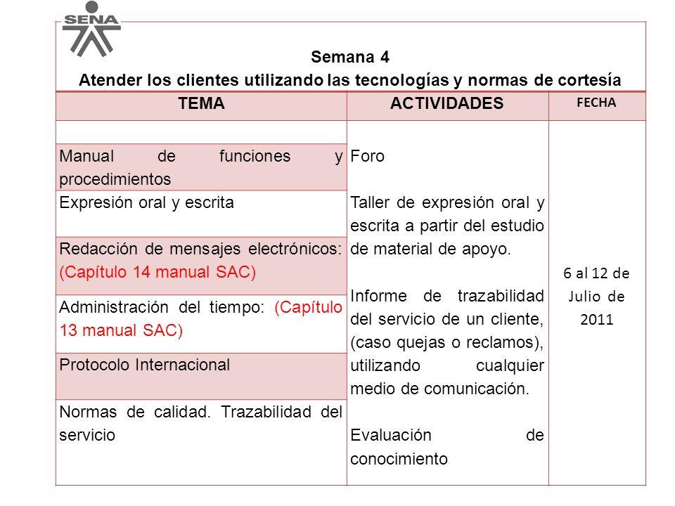Semana 4 Atender los clientes utilizando las tecnologías y normas de cortesía TEMAACTIVIDADES FECHA Foro Taller de expresión oral y escrita a partir d