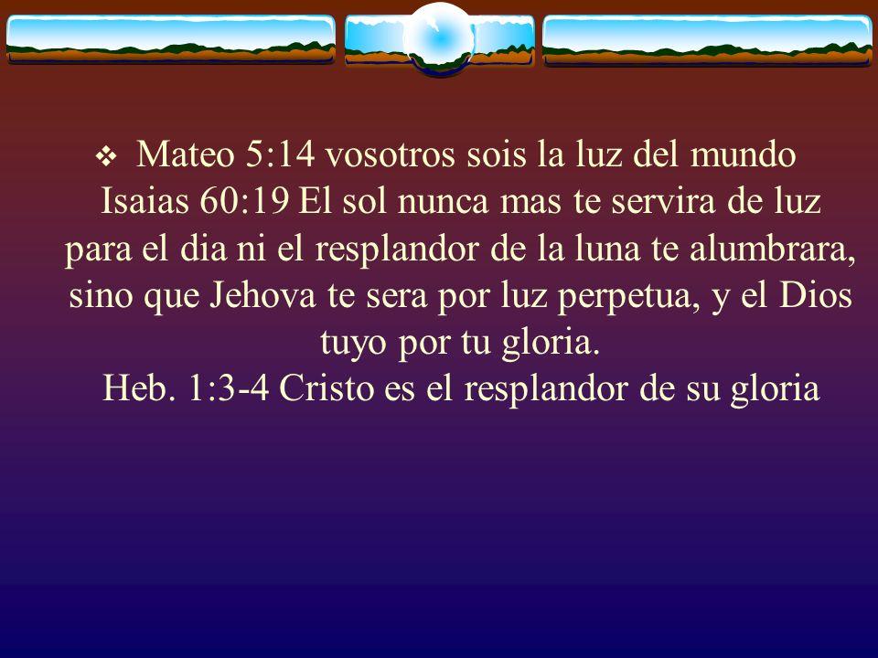 Mateo 5:14 vosotros sois la luz del mundo Isaias 60:19 El sol nunca mas te servira de luz para el dia ni el resplandor de la luna te alumbrara, sino q