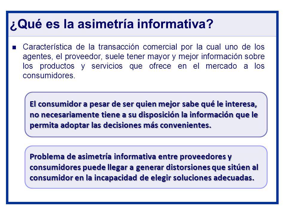 ¿Qué es la asimetría informativa? Característica de la transacción comercial por la cual uno de los agentes, el proveedor, suele tener mayor y mejor i