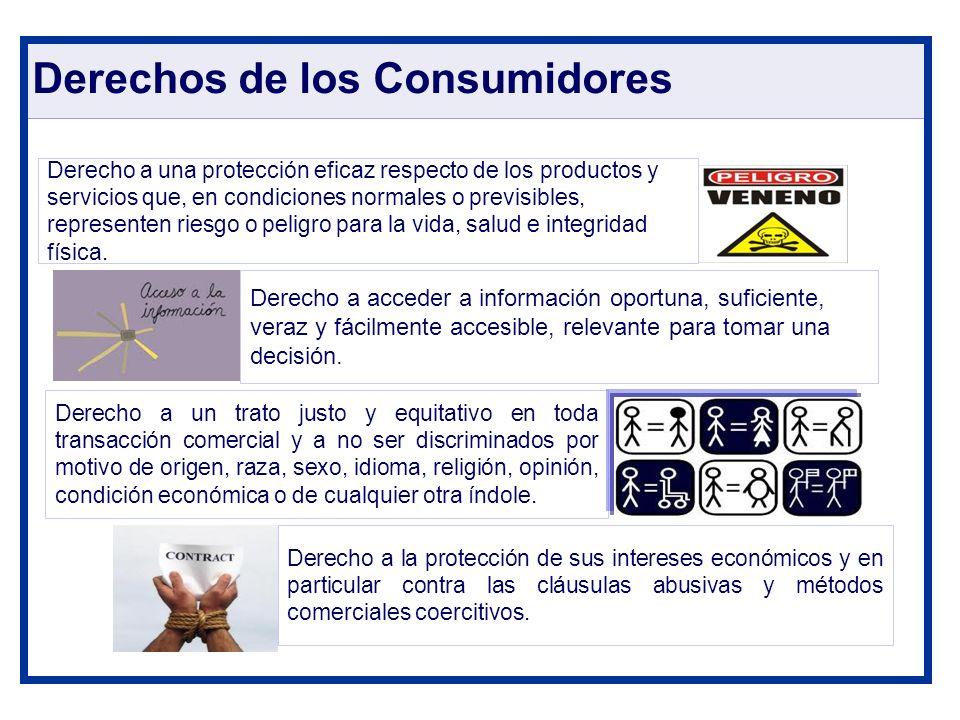 Derechos de los Consumidores Derecho a una protección eficaz respecto de los productos y servicios que, en condiciones normales o previsibles, represe