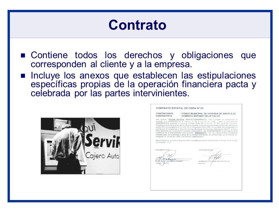 Contrato Contiene todos los derechos y obligaciones que corresponden al cliente y a la empresa. Incluye los anexos que establecen las estipulaciones e