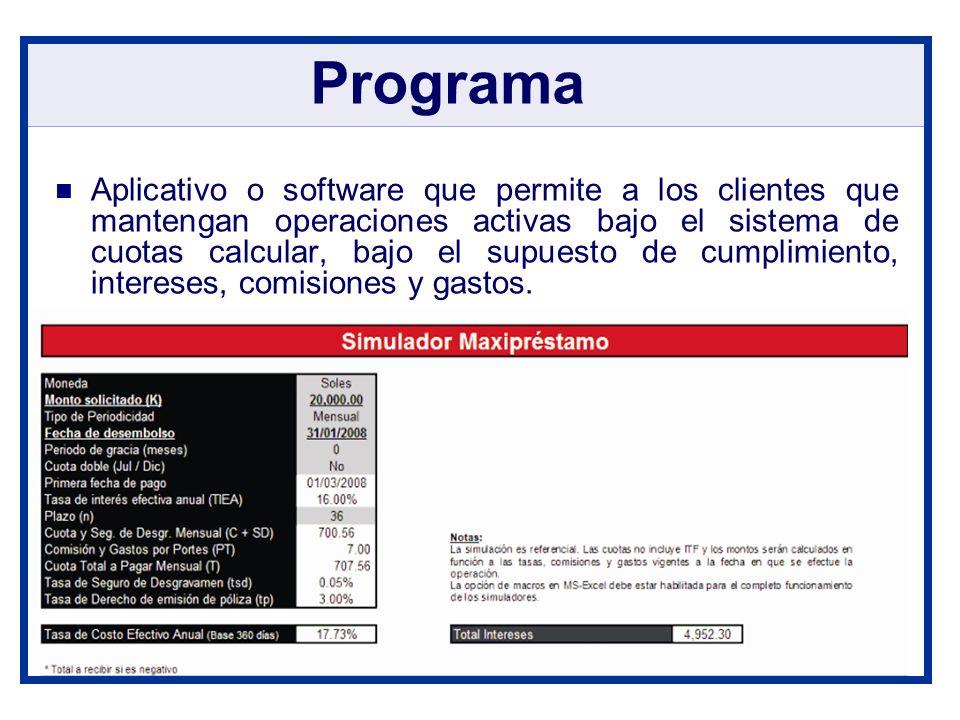 Aplicativo o software que permite a los clientes que mantengan operaciones activas bajo el sistema de cuotas calcular, bajo el supuesto de cumplimient