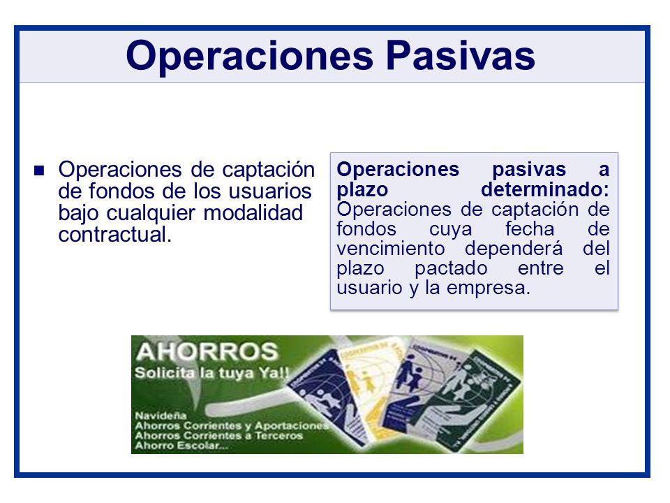 Operaciones de captación de fondos de los usuarios bajo cualquier modalidad contractual. Operaciones Pasivas Operaciones pasivas a plazo determinado: