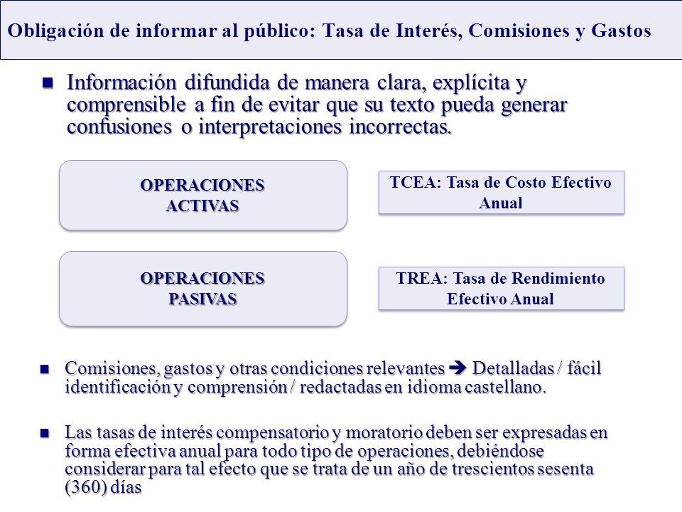 Obligación de informar al público: Tasa de Interés, Comisiones y Gastos Información difundida de manera clara, explícita y comprensible a fin de evita