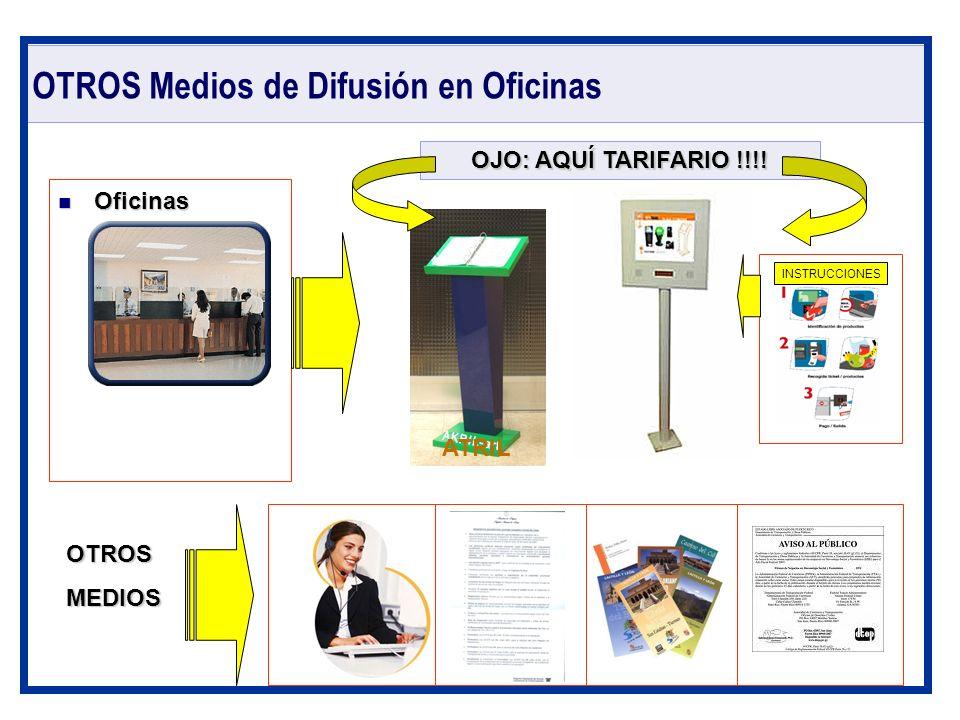 OTROS Medios de Difusión en Oficinas Oficinas Oficinas OTROSMEDIOS OJO: AQUÍ TARIFARIO !!!! INSTRUCCIONES ATRIL