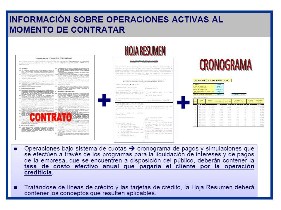 INFORMACIÓN SOBRE OPERACIONES ACTIVAS AL MOMENTO DE CONTRATAR + + Operaciones bajo sistema de cuotas cronograma de pagos y simulaciones que se efectúe