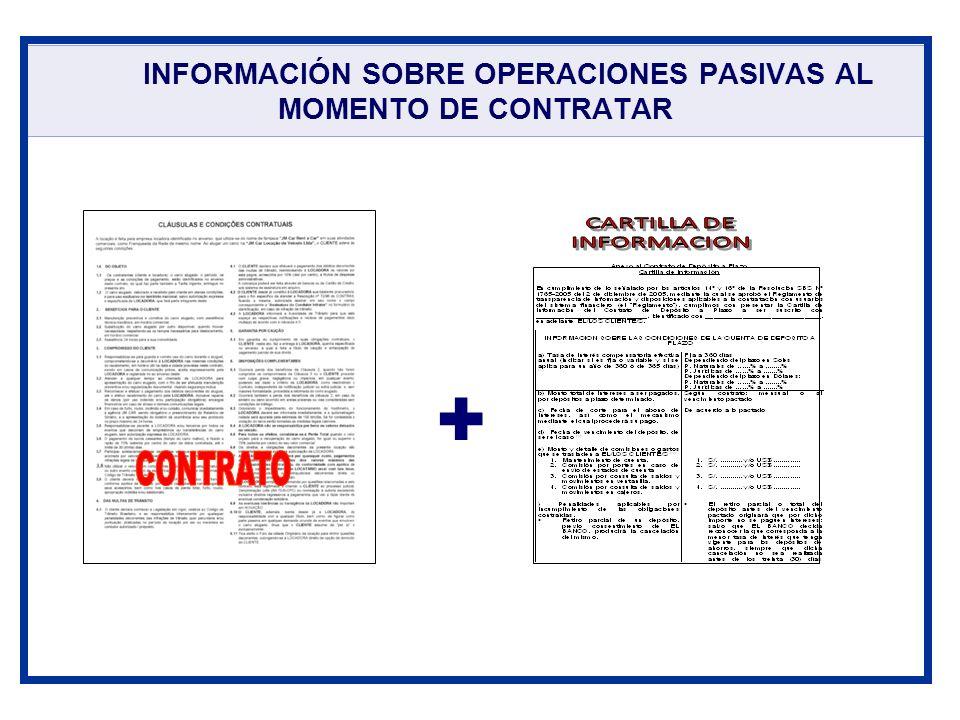 INFORMACIÓN SOBRE OPERACIONES PASIVAS AL MOMENTO DE CONTRATAR +