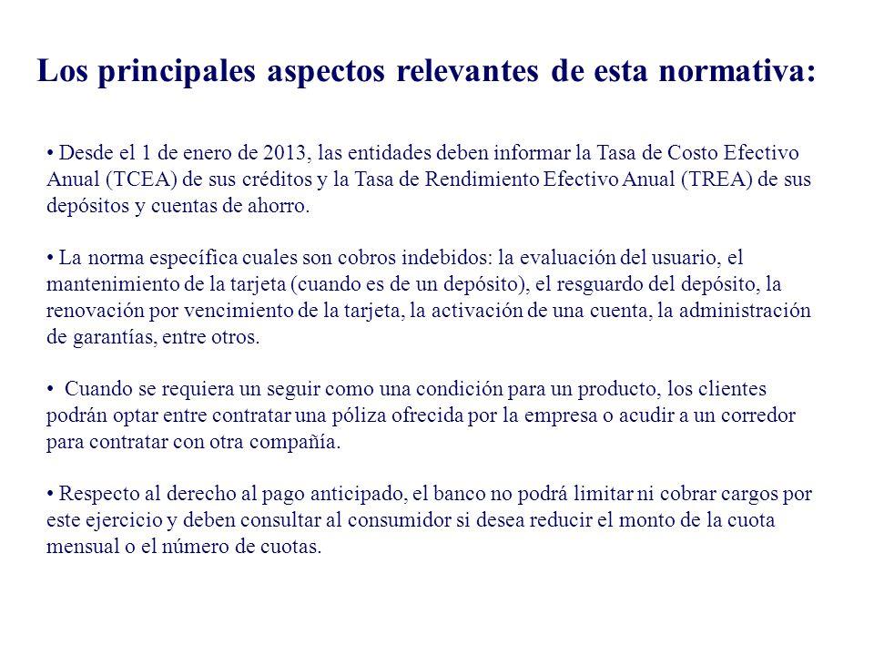 Desde el 1 de enero de 2013, las entidades deben informar la Tasa de Costo Efectivo Anual (TCEA) de sus créditos y la Tasa de Rendimiento Efectivo Anu
