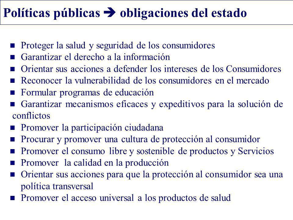 Políticas públicas obligaciones del estado Proteger la salud y seguridad de los consumidores Garantizar el derecho a la información Orientar sus accio