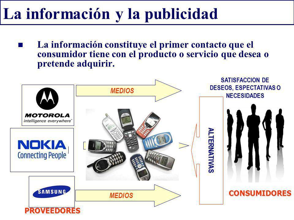 La información y la publicidad La información constituye el primer contacto que el consumidor tiene con el producto o servicio que desea o pretende ad
