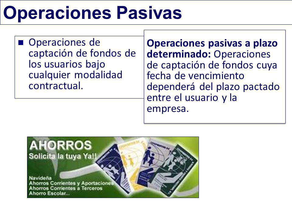 Operaciones Pasivas Operaciones de captación de fondos de los usuarios bajo cualquier modalidad contractual. Operaciones pasivas a plazo determinado:
